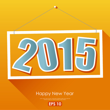 happy new year text: 2015 sign with Happy New Year text on colorful yellow background