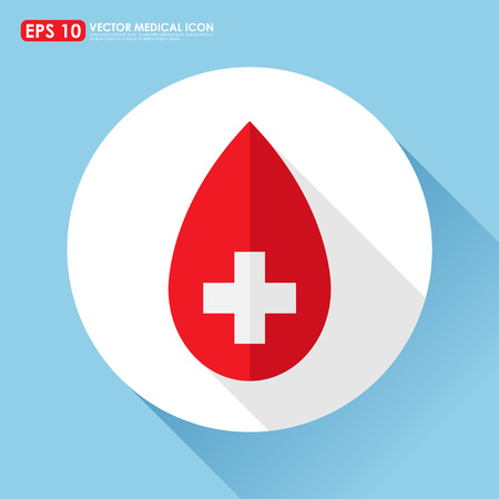 medical cross: Red blood drop icon with cross sign - medical symbol