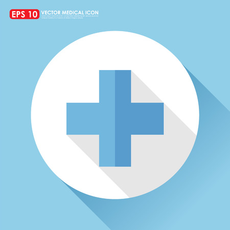 plus symbol: First aid sign in light blue color - medical  vector icon