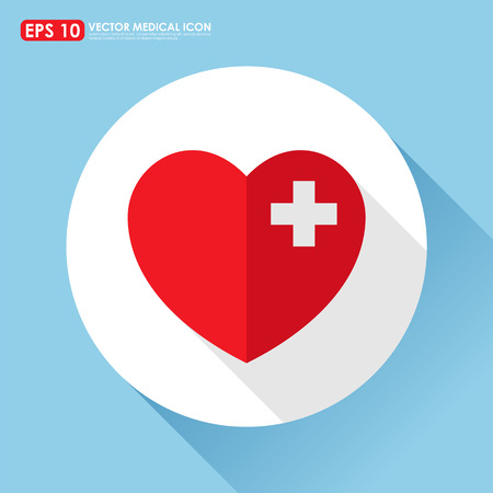 heartache: Heart icon with first aid sign - heart disease concept