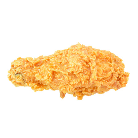 Fried chicken leg isolated on white background photo