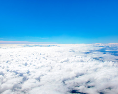 on cloud nine: View of blue sky above clouds
