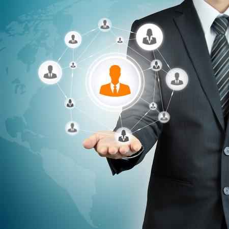 trabajo social: Mano red hombre de negocios con el icono - RRHH, gesti�n de recursos humanos, MLM, trabajo en equipo y concepto de liderazgo