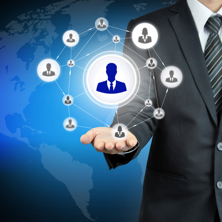 multi level: Hand carrying businessman icon network - HR,HRM,MLM, teamwork & leadership concept