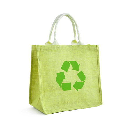 recycle bag: Hessian or jute shopping bag with recycle or reusable sign