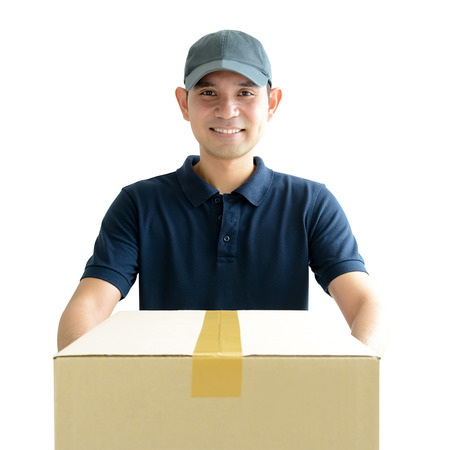 deliveryman: Deliveryman giving a cardboard parcel box