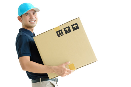deliveryman: Deliveryman carrying a cardboard box