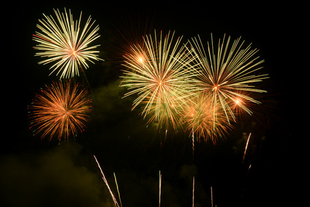 magnificent: Colorful magnificent fireworks Stock Photo