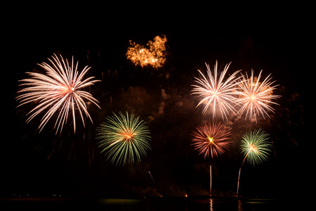 and the magnificent: Colorful magnificent fireworks Stock Photo