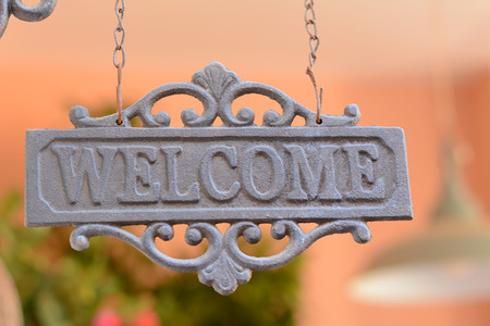 hotel sign: Welcome sign Stock Photo