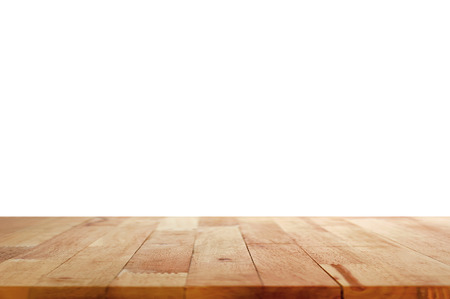Wood table top on white background Stock Photo