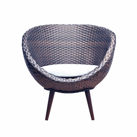 rattan: Modern style wicker chair with seat cushion - isolated on white background