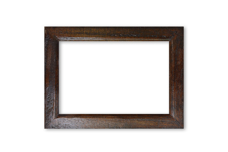 marcos decorados: Dark brown wooden picture frame - isolated on white background