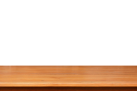 board desk: Wood table top on white background - can montage or display your objects on top