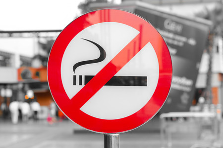 abstain: No smoking sign in public place