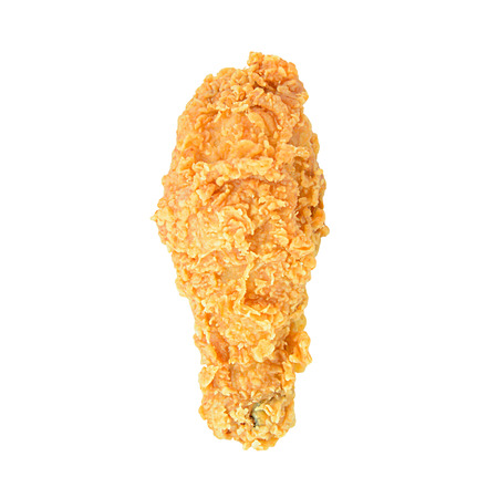Fried chicken leg or drumstick isolated on white background photo