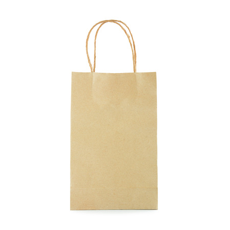 reusable: Reusable brown paper bag with loop handles - isolated on white background