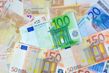 eur: Money - Euro currency (EUR) bills as background Stock Photo