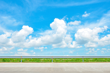 country side: Roadside view of beautiful blue sky as natural background - soft focus Stock Photo