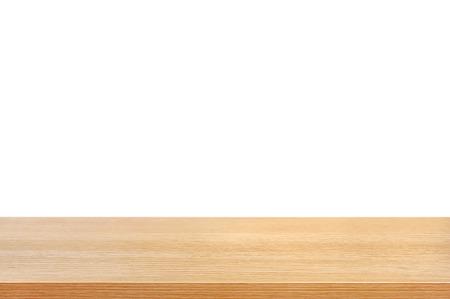 madera r�stica: Madera mesa en el fondo blanco - se puede utilizar para la exhibici�n o montaje de sus productos