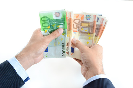 counting money: Businessman hands counting money, Euro currency (EUR)