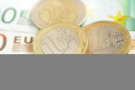 eur: Money, Euro currency (EUR) bills and coins Stock Photo