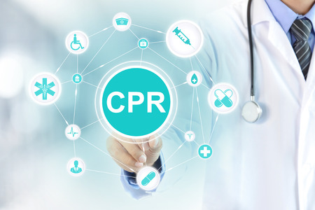 Doctor hand touching CPR sign on virtual screen