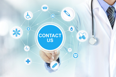 contact icons: Doctor hand touching CONTACT US sign on virtual screen - medical support and service concept