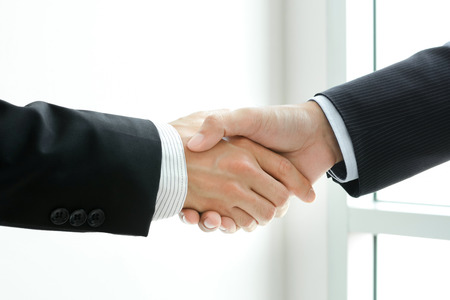 business handshake: Handshake of businessmen -  greeting,dealing & partnership concepts