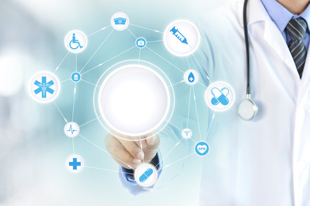 healthcare: Doctor hand touching blank circle on virtual screen, healthcare and medical background concept - can montage or put your texts (pictures) in a circle