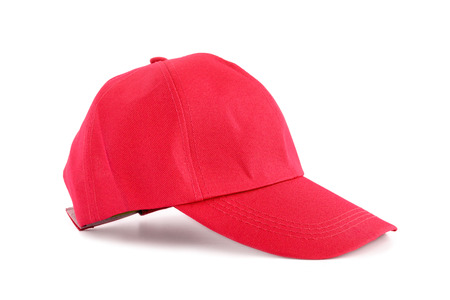baseball caps: Red fabric cap isolated on white background