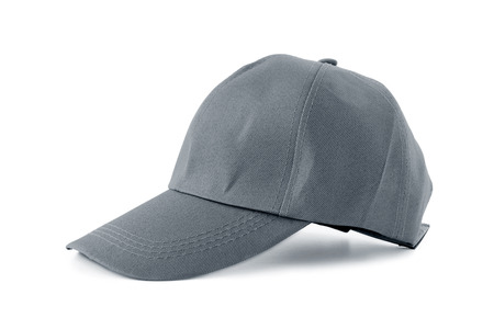 hombre con sombrero: Gorra de tela gris - aislado en fondo blanco