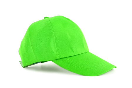 white men: Green fabric cap -  isolated on white background