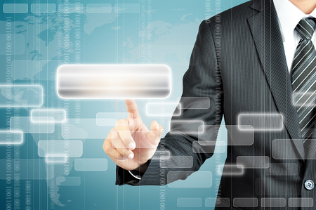 hand pointing: Businessman hand pointing on empty virtual screen - modern business background