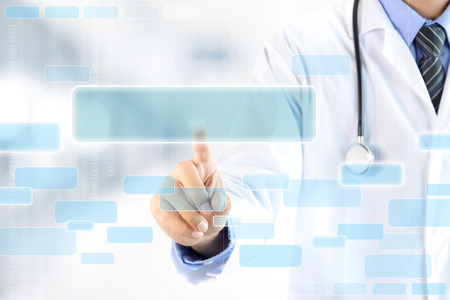 future space: Doctor hand touching blank empty screen - modern medical background