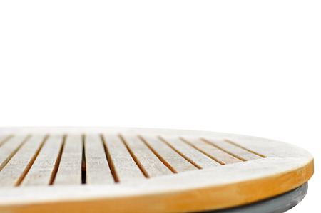 Round wood table top on white background - can be used for display or montage your products