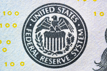 Close up of FEDERAL RESERVE SYSTEM seal on US dollar bill (banknote) Stock Photo