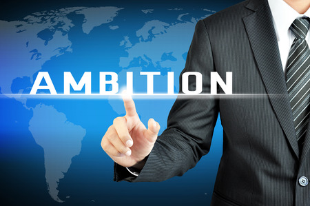 ambition: Businessman hand touching AMBITION sign on virtual screen Stock Photo