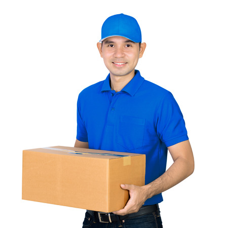 deliveryman: Asian deliveryman carrying a cardboard parcel box, isolated on white background