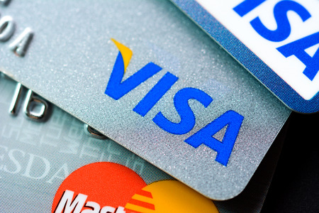 mastercard: Group of credit cards with VISA and MasterCard brand logos