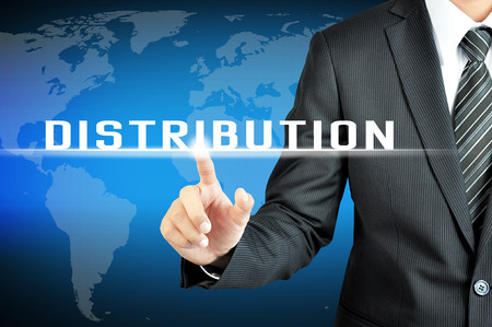 distributor: Businessman hand touching DISTRIBUTION sign on virtual screen
