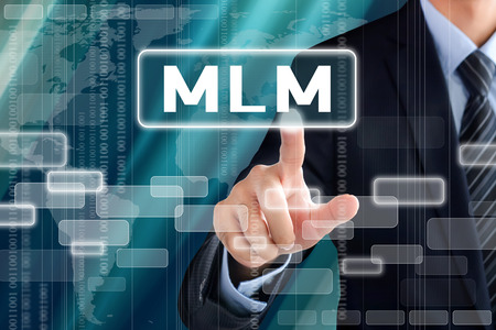 multi touch: Businessman hand touching MLM (Multi Level Marketing) sign on virtual screen
