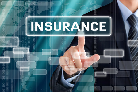 financial insurance: Businessman hand touching INSURANCE sign on virtual screen Stock Photo