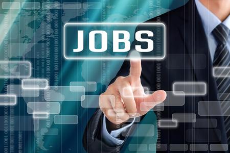 Zakenman hand aanraken JOBS ondertekenen op het virtuele scherm - zoeken naar een baan begrip