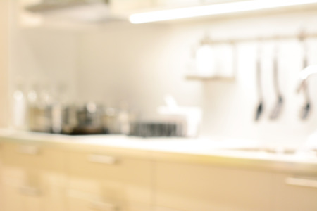 Blurred kitchen interior, can be used as background Archivio Fotografico