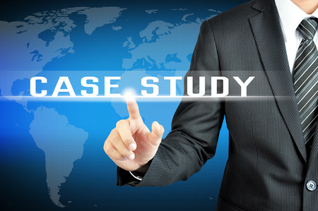 Businessman hand touching CASE STUDY sign on virtual screen