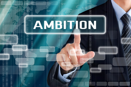 eagerness: Businessman hand touching AMBITION sign on virtual screen Stock Photo