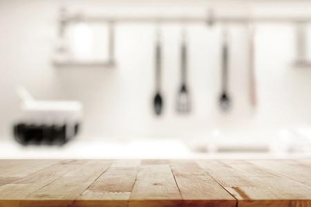 contadores: Vector de madera en el fondo de la cocina desenfoque - se puede utilizar para la visualización o el montaje de sus productos Foto de archivo