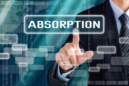 absorption: Businessman hand touching ABSORPTION sign on virtual screen