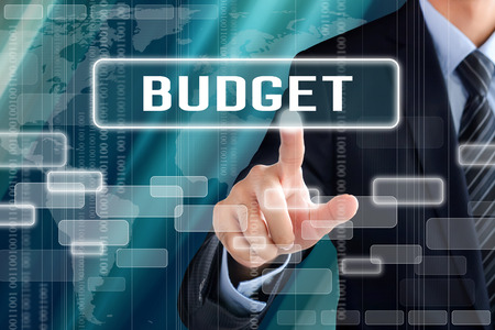 Businessman hand touching BUDGET sign on virtual screen